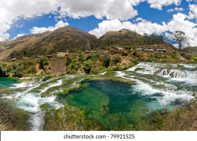 waterfalls in peruvian andes, cañete river in HDR