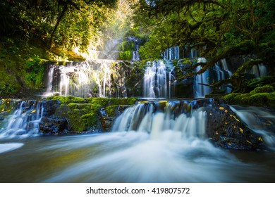 Waterfalls photo with sun rays