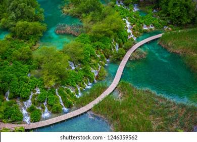 The waterfalls in Plitvice Lakes National Park, Croatia.