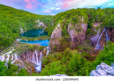 Waterfalls in Plitvice National Park, Croatia. This photo make HDR technic