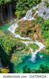 Waterfalls and ponds at Plitvice Lakes National Park (Croatia)