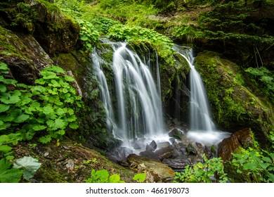 waterfalls at river bila opava, jeseniky mountains, praded mountain, town karlova studanka, czech republic