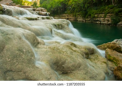waterfalls and river flows