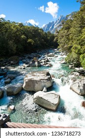 Waterfalls and river rush in New Zealand