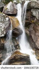 Waterfalls at stream Studeny potok in High Tatras mountains, Slovakia - Shutterstock ID 1846100728