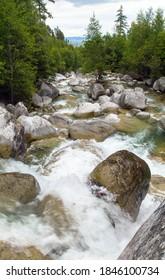 Waterfalls at stream Studeny potok in High Tatras mountains, Slovakia - Shutterstock ID 1846100734