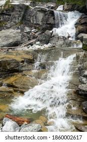 Waterfalls at stream Studeny potok in High Tatras mountains, Slovakia - Shutterstock ID 1860002617