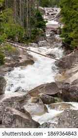 Waterfalls at stream Studeny potok in High Tatras mountains, Slovakia - Shutterstock ID 1869364843