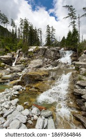 Waterfalls at stream Studeny potok in High Tatras mountains, Slovakia - Shutterstock ID 1869364846