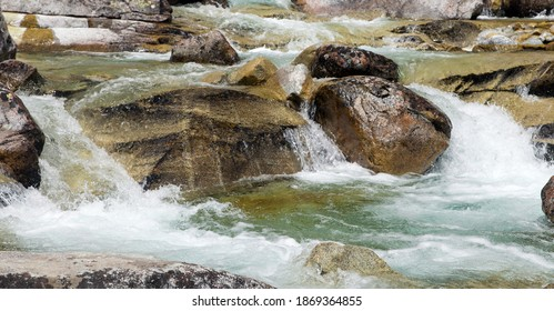 Waterfalls at stream Studeny potok in High Tatras mountains, Slovakia - Shutterstock ID 1869364855