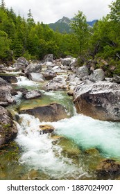 Waterfalls at stream Studeny potok in High Tatras mountains, Slovakia - Shutterstock ID 1887024907