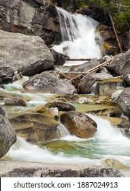 Waterfalls at stream Studeny potok in High Tatras mountains, Slovakia - Shutterstock ID 1887024913