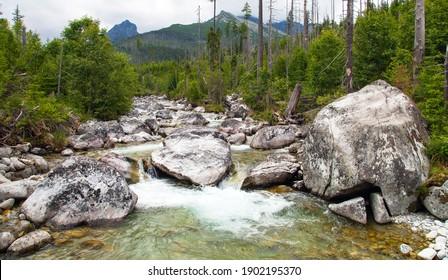 Waterfalls at stream Studeny potok in High Tatras mountains, Slovakia - Shutterstock ID 1902195370