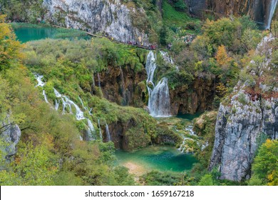 Waterfalls and streams in Plitvice Lakes National Park in autumn, Croatia