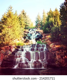 waterfalls toned with a retro vintage instagram filter