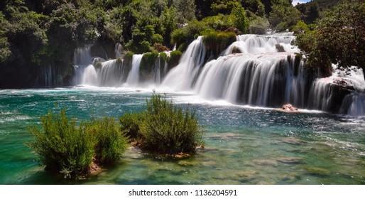 Waterfalls and turquoise water. Krka Waterfall