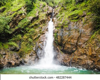 waterfalls in the valley. nature background.