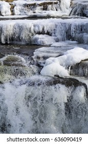 Waterfalls,ice and snow on the Mississippi River in Almonte, Ontario,Canada