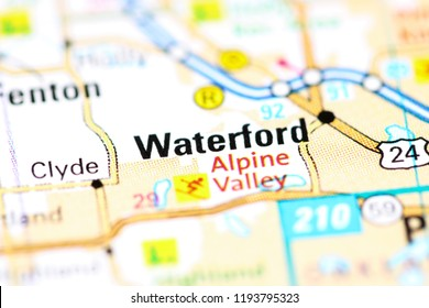 Waterford. Michigan. USA on a map