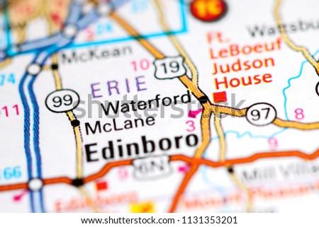 Pennsylvania In Usa Map.Waterford Pennsylvania Usa On Map Stock Photo Edit Now 1131353201