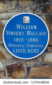 Waterford, Republic of Ireland - August 14th 2018: A blue plaque in the city of Waterford, marking where famous composer William Vincent Wallace lived.