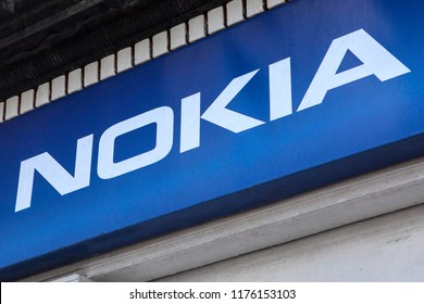 Waterford, Republic of Ireland - August 16th 2018: The Nokia company logo above a phone shop in the city of Waterford, Republic of Ireland.