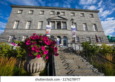Waterford, Republic of Ireland - August 16th 2018: The exterior of Bishops Palace in the city of Waterford, Republic of Ireland.  It houses a Treasures of Georgian Waterford Museum.