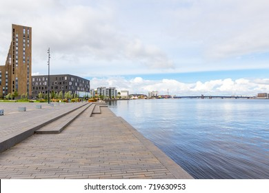 Waterfront of Aalborg with the bridge to Noerresundby