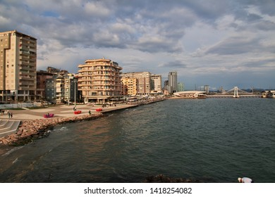 The waterfront of of the Adriatic sea in Durres, Albania