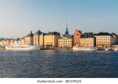 waterfront architecture of old town Gamla Stan in Stockholm, Sweden
