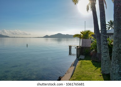 Waterfront backyard on Oahu's Kaneohe Bay.