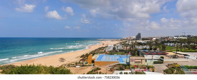 Waterfront and beach on a sunny day in Ashkelon, Israel