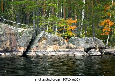 Waterfront boulders at lake saimaa