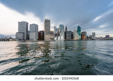 The waterfront of the business district of Lower Manhattan, New York