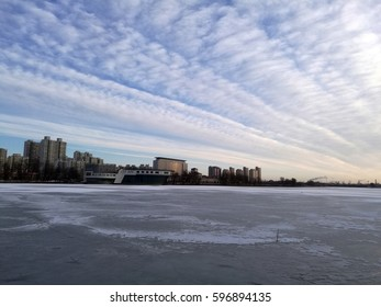 Waterfront City winter scenery