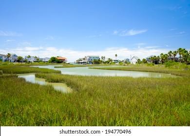 Waterfront community on the Texas Gulf coast near Galveston.