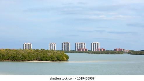 Waterfront condominiums and timeshares on Estero Island, Florida, USA.