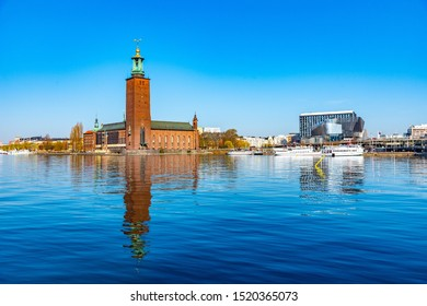 Waterfront conference center and the town hall in Stockholm, Sweden