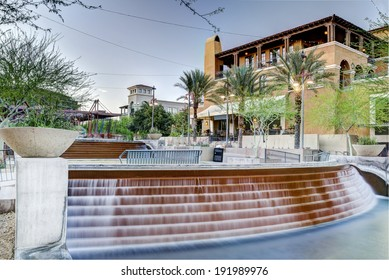 The Waterfront District of downtown Scottsdale Arizona looking toward South Bridge from Stetson Drive.