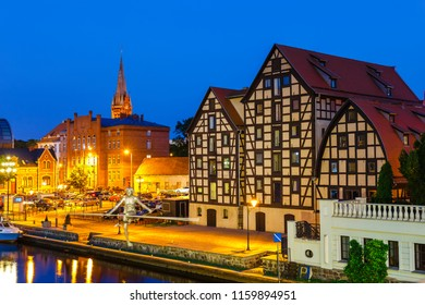 The waterfront  with famous granaries at night in Bydgoszcz, Poland