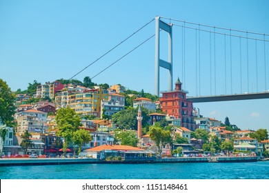 Waterfront and Fatih Sultan Mehmet Bridge over Bosporus Strait, Istanbul, Turkey