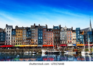 Waterfront of Honfleur harbor in Normandy, France