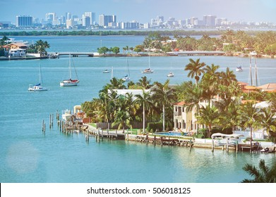 waterfront houses in miami city florida in summer day
