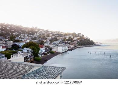 Waterfront houses on the San Francisco Bay, Sausalito, California, USA