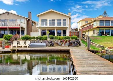 Waterfront lake house exterior. Lake Meridian, Kent. Washington State. USA.
