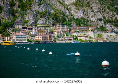 the waterfront of Limone sul Garda - a small town on the Garda lake, Italy