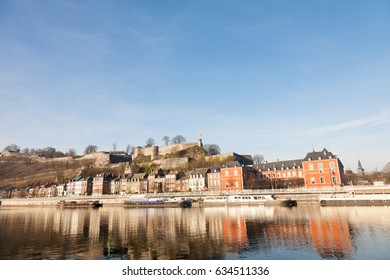 The waterfront of Namur on the river Meuse with the Parliament of Wallonia on the right, Belgium