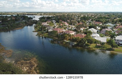 Waterfront neighborhood in Florida aerial view