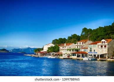 Waterfront on spring day in  Pomena, Mljet Island, Croatia