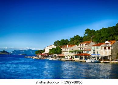 Waterfront on spring day in  Pomena, Mljet Island, Croatia